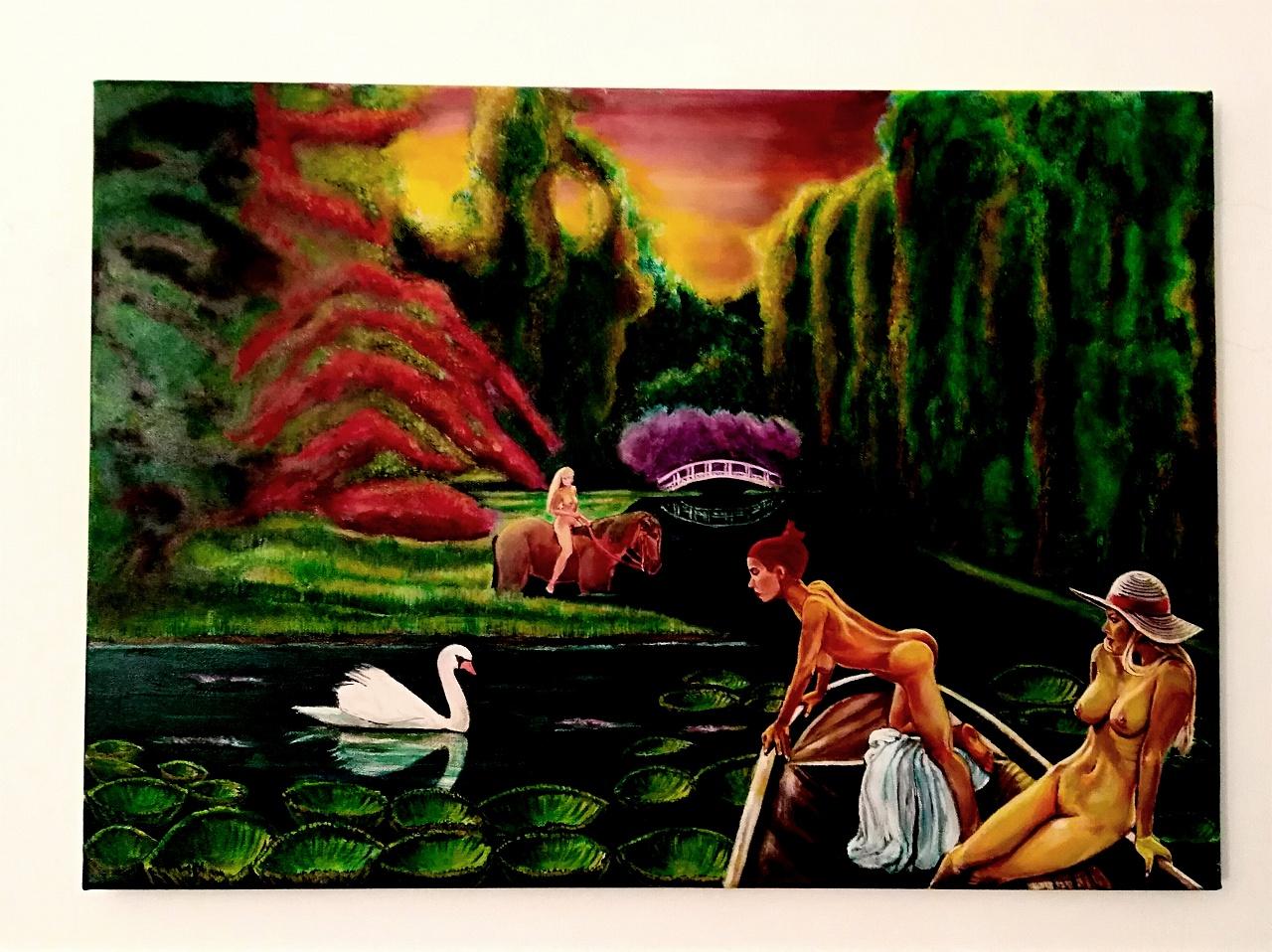 Omaggio a Monet - Tecniche varie su tela . Misure : 70 X 50 . Voleva essere un' opera ispirata ai quadri di Monet ( famoso giardino ...)che però ,  mi rendo conto che può suonare retorico e scontato , a preso una sua via e mi ci sono adeguato perchè non riuscivo a fare altrimenti.