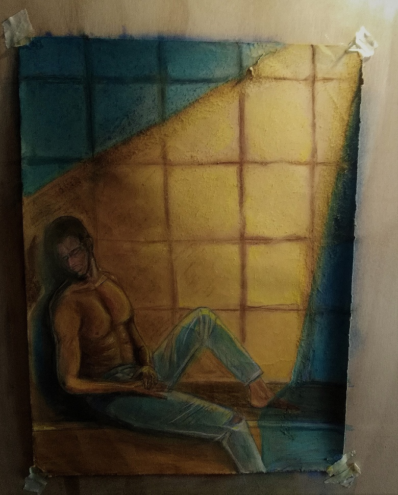 interminabile pomeriggio carcerario - Lavoro su carta , 21 X 30 . Matite e pastelli colorati . Ho cercato di rappresentare l' angoscia e la disperazione di un lungo ed assolato pomeriggio trascorso in prigione